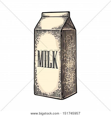 Box carton package. Lettered text MILK. Vector engraving vintage color illustration. Isolated on white background.