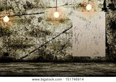 3D illustration. Hanging Light Bulb in the Empty Concrete Room Interior with place for Your Text