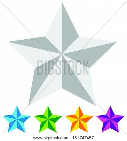 3D Star. Star Icon. Faceted Star. Beveled Star. White And Colorful Star Icon.