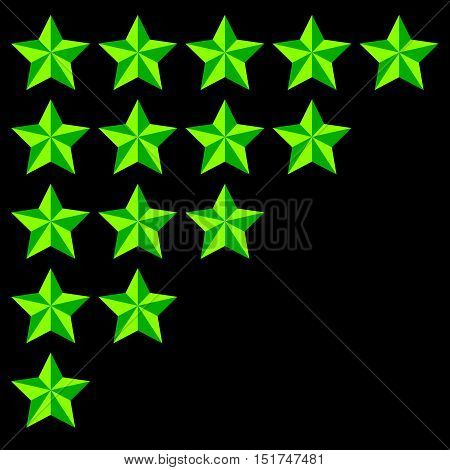 Star Rating Element. 5 Point Rating. Beveled, 3D Star Icons. User Feedback, User Experience, User Sa
