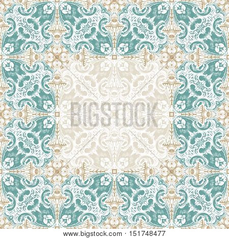 Seamless islam pattern. Vintage floral background. Vector islamic royal gold and blue pattern. Oriental design and baroque wallpaper