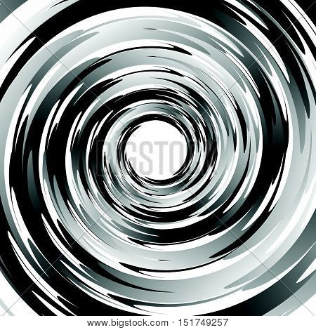 Geometric Spiral Pattern With Concentric Circles, Rings. Abstract Monochrome Illustration.