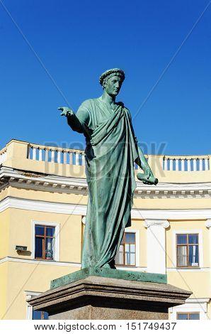 Monument to Duke de Richelieu mayor of Odessa. First monument in Odessa opened in 1828. Odessa Ukraine.