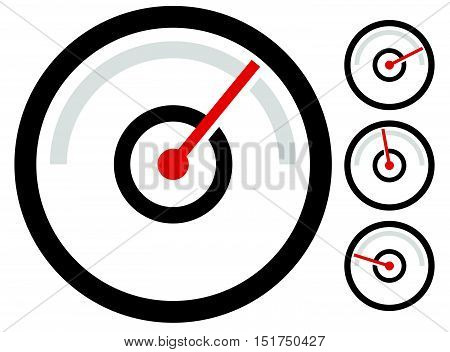 Gauge Meter Symbol, Icon At 4 Stages. Pressure Gauge, Odometer, Speedometer