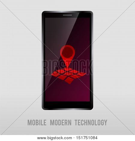 mobile device with geo mark on screen vector illustration