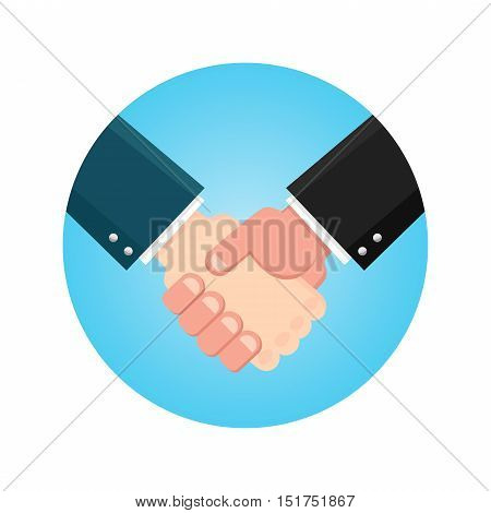 Handshake businessman agreement. Shaking hands business icon on a blue. Vector illustration flat style. symbol of a successful transaction