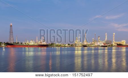 Panorama Oil refinery river front with blue sky background, Bangkok Thailand