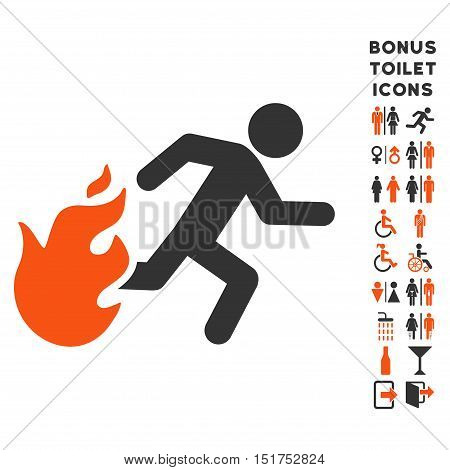 Fired Running Man icon and bonus man and lady restroom symbols. Vector illustration style is flat iconic bicolor symbols, orange and gray colors, white background.