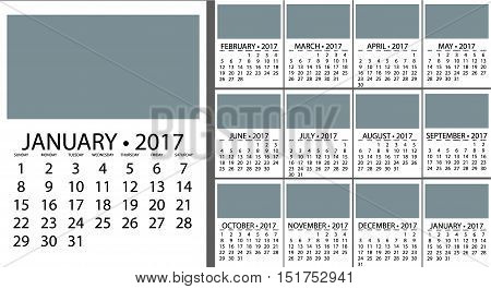 2017 Calendar Planner Design. Vector template design monthly date illustration 2017 calendar week organizer simple number. Organizer date 2017 year calendar month business template design.