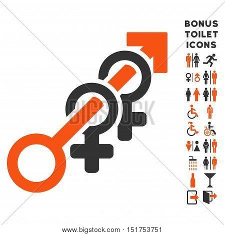 Harem icon and bonus man and lady restroom symbols. Vector illustration style is flat iconic bicolor symbols, orange and gray colors, white background.