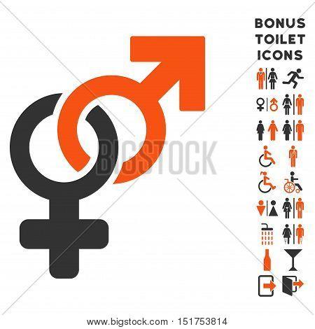 Heterosexual Symbol icon and bonus gentleman and female WC symbols. Vector illustration style is flat iconic bicolor symbols, orange and gray colors, white background.