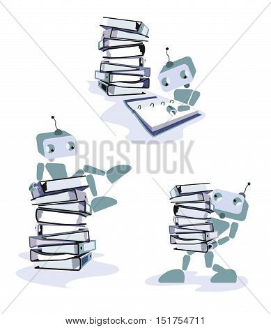 A Robot reading documents isolated on a white background. Concept of office supply, information classification, digitalization.