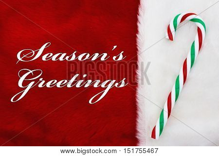 Free Shipping A plush reSeason's Greetings A plush red stocking with a candy cane and words Season's Greetingsd stocking with a candy cane and words Free Shipping
