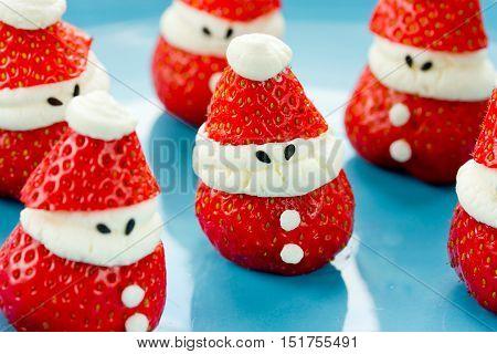 Strawberry cheesecake santas fresh snack or dessert for children