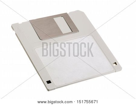 One gray diskette 3.5 inch isolated on white background.
