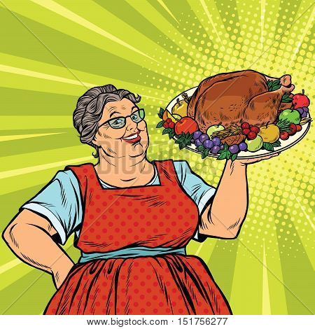 Grandma with a Christmas or Thanksgiving roast Turkey, pop art retro vector illustration. holiday menu. Homemade family dinner