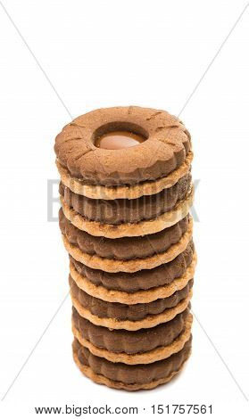 sandwich biscuits with chocolate filling on a white background