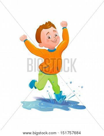 Boy in raincoat jumping and playing in the rain. Smiling cartoon character running through puddle. Vector illustration of splashing boy