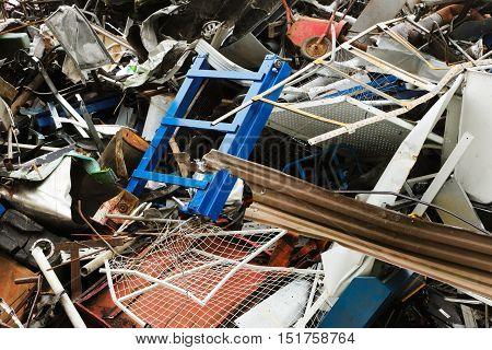 Scrap metal at arecycling yard close up.