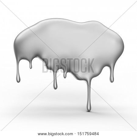 Gray paint dripping isolated over white background. 3D