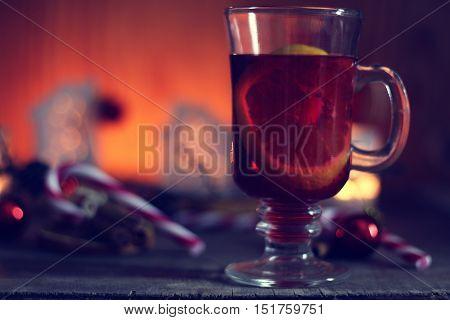 christmas grog with orange cinnamon and sugar
