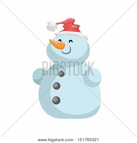 Cute snowmen in red hat vector icon. Cartoon expression isolated character. Simple gradient mascot.