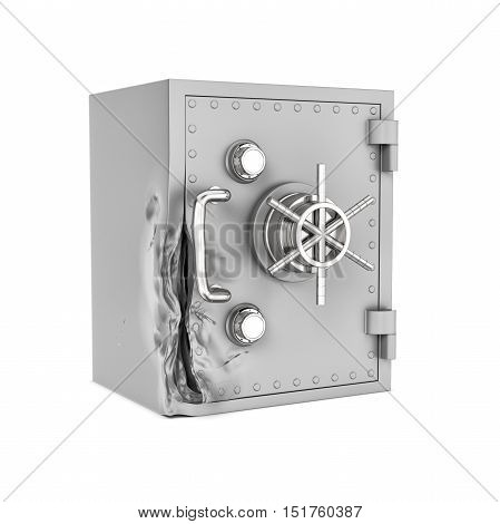 3d rendering of a damaged safe box isolated on a white background. Attempting to crack. Using brute force methods to open. Trying to rob money and value