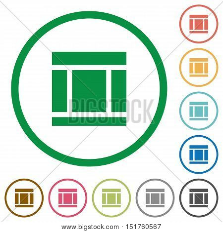 Set of Three columned web layout color round outlined flat icons on white background