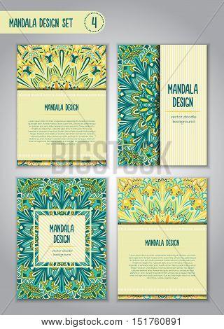 Nature Mandala Design Set. Vintage Decorative Elements.