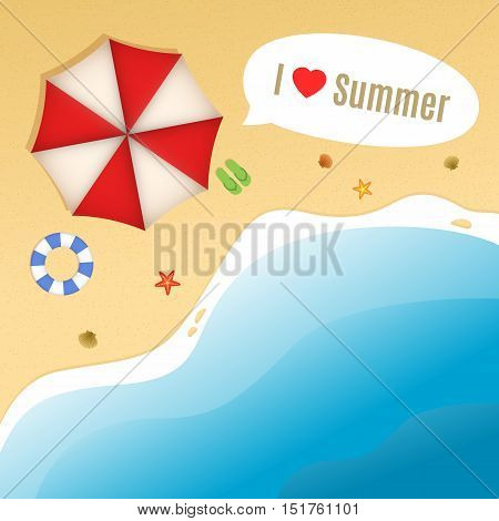 Summer Beach with shells, starfishes, life buoy, flip-flops and umbrella