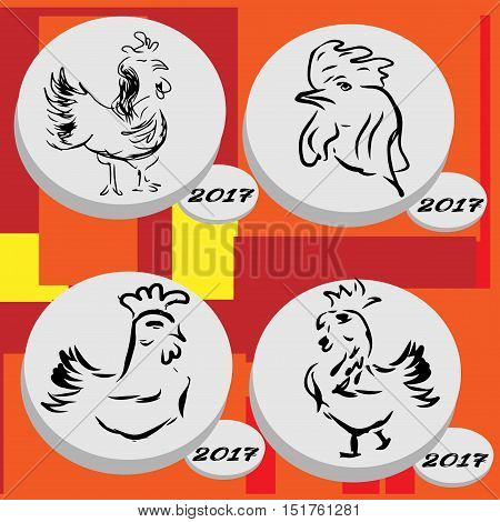 Rooster symbol of 2017 Chinese New Year calendar. Cartoon characters of or rooster. Rooster vector icon set. 2017 New Year illustration