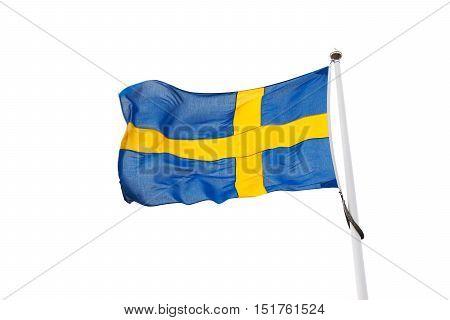 Swedish flag isolated on a white background.