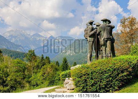 Ribcev Laz, Slovenia - September 14, 2016: Monument to the conquerors of Triglav.
