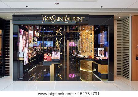 HONG KONG - JANUARY 26, 2016: Yves Saint Laurent store at Elements shopping mall. Elements is a large shopping mall located on 1 Austin Road West, Tsim Sha Tsui, Kowloon, Hong Kong