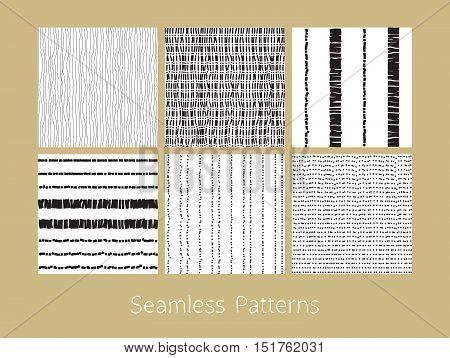 Set of dotted and dashed seamless patterns. Stylized burlap and matting abstract repeating textures in black and white colors. Vector eps8 illustration.