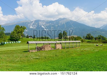 Beautiful green field on a background of mountains near the village of Bled, Slovenia.