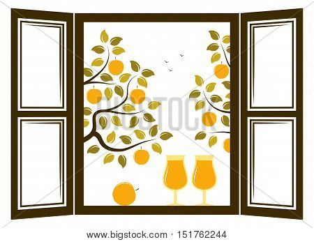 vector two glasses of cider in the window and apple trees outside the window
