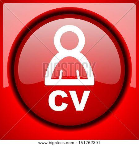 cv red icon plastic glossy button