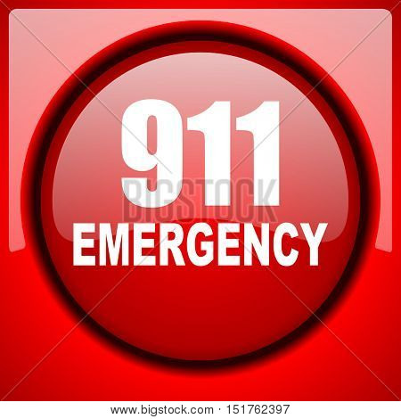 number emergency 911 red icon plastic glossy button