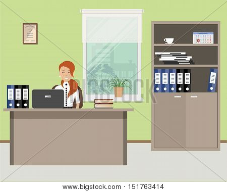 Web banner of an office worker. The young woman is an employee at work. There is furniture in beige color on a window background. Vector flat illustration