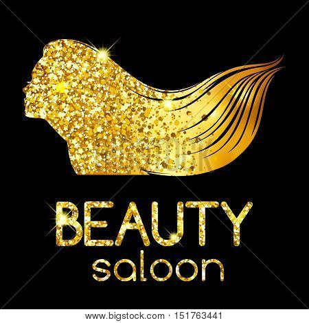 Golden decoration of a beauty salon, the girl outline silhouette waving her hair, bright illustration. Vector illustration