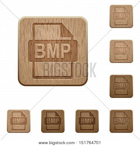 Set of carved wooden BMP file format buttons in 8 variations.