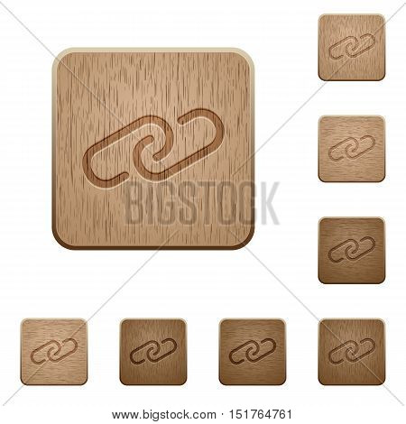 Set of carved wooden paperclip buttons in 8 variations.