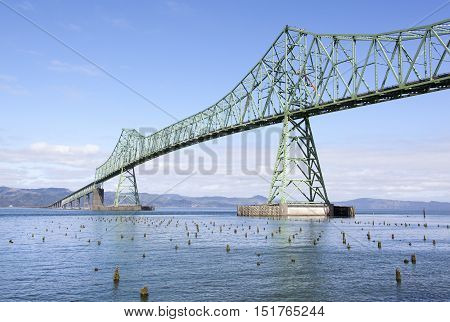 Long Astoria Bridge over Columbia River (Astoria Oregon).