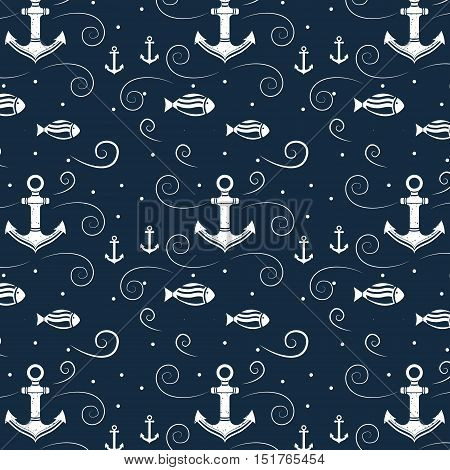 Vector seamless pattern with anchor and fish. Marine background. Template for design banners, postcard, invitation, packaging, fabric, cover, poster, wrapping paper. Vintage style.