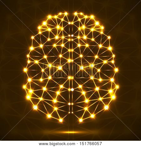 Abstract polygonal brain with yellow glowing dots and lines, network connections