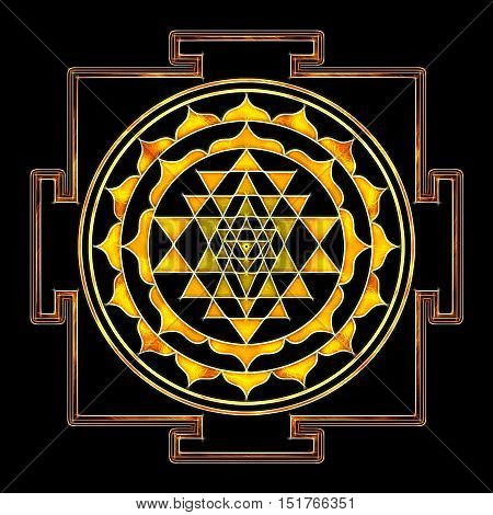 Illustration of a sacred geometry sri yantra symbol.