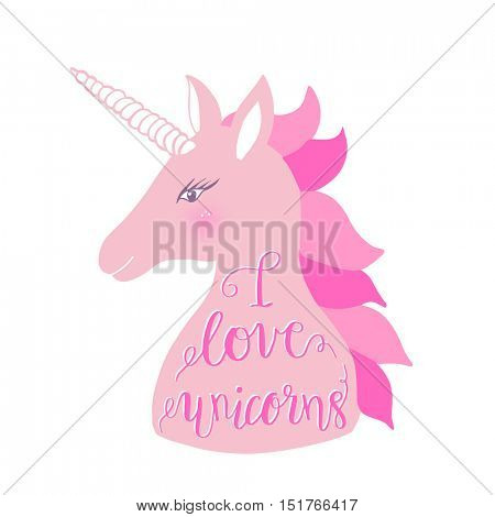 Cute pink unicorn with inscription