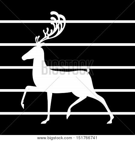 Deer black lines vector illustration elk silhouette