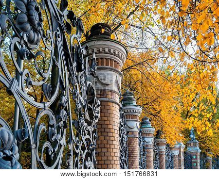 Autumn in St. Petersburg - fence of the Mikhailovsky Garden in St. Petersburg Russia in autumn day. Autumn architecture view of St. Petersburg landmark framed by autumn yellowed trees